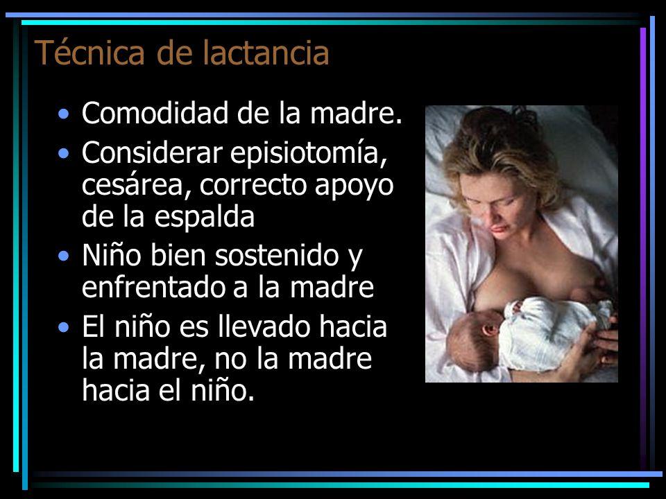 Técnica de lactancia Comodidad de la madre. Considerar episiotomía, cesárea, correcto apoyo de la espalda Niño bien sostenido y enfrentado a la madre