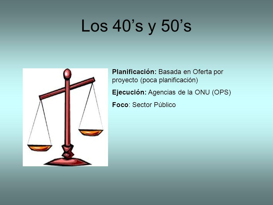 Los 40s y 50s Planificación: Basada en Oferta por proyecto (poca planificación) Ejecución: Agencias de la ONU (OPS) Foco: Sector Público
