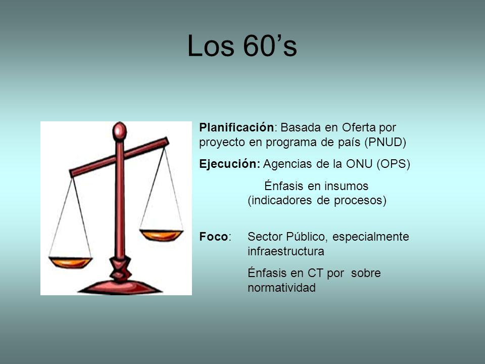 Los 60s Planificación: Basada en Oferta por proyecto en programa de país (PNUD) Ejecución: Agencias de la ONU (OPS) Énfasis en insumos (indicadores de procesos) Foco: Sector Público, especialmente infraestructura Énfasis en CT por sobre normatividad