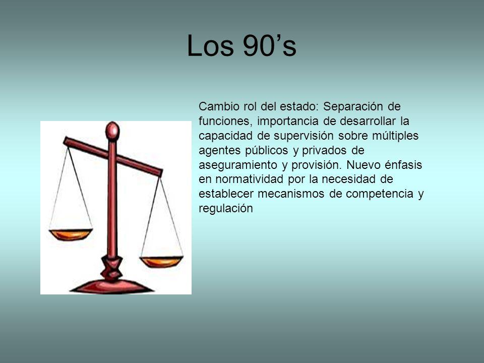 Los 90s Cambio rol del estado: Separación de funciones, importancia de desarrollar la capacidad de supervisión sobre múltiples agentes públicos y privados de aseguramiento y provisión.