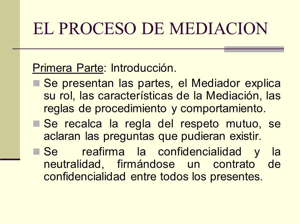 EL PROCESO DE MEDIACION Primera Parte: Introducción. Se presentan las partes, el Mediador explica su rol, las características de la Mediación, las reg