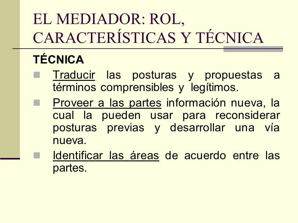 EL MEDIADOR: ROL, CARACTERÍSTICAS Y TÉCNICA TÉCNICA Traducir las posturas y propuestas a términos comprensibles y legítimos. Proveer a las partes info