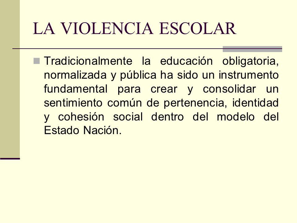 LA VIOLENCIA ESCOLAR Tradicionalmente la educación obligatoria, normalizada y pública ha sido un instrumento fundamental para crear y consolidar un se