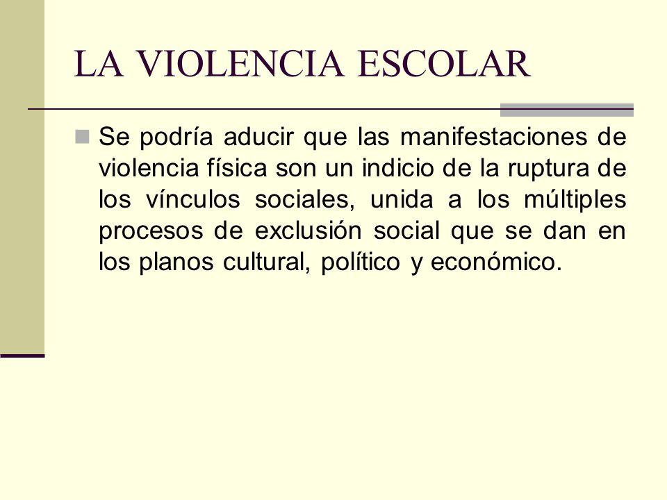 LA VIOLENCIA ESCOLAR Se podría aducir que las manifestaciones de violencia física son un indicio de la ruptura de los vínculos sociales, unida a los m