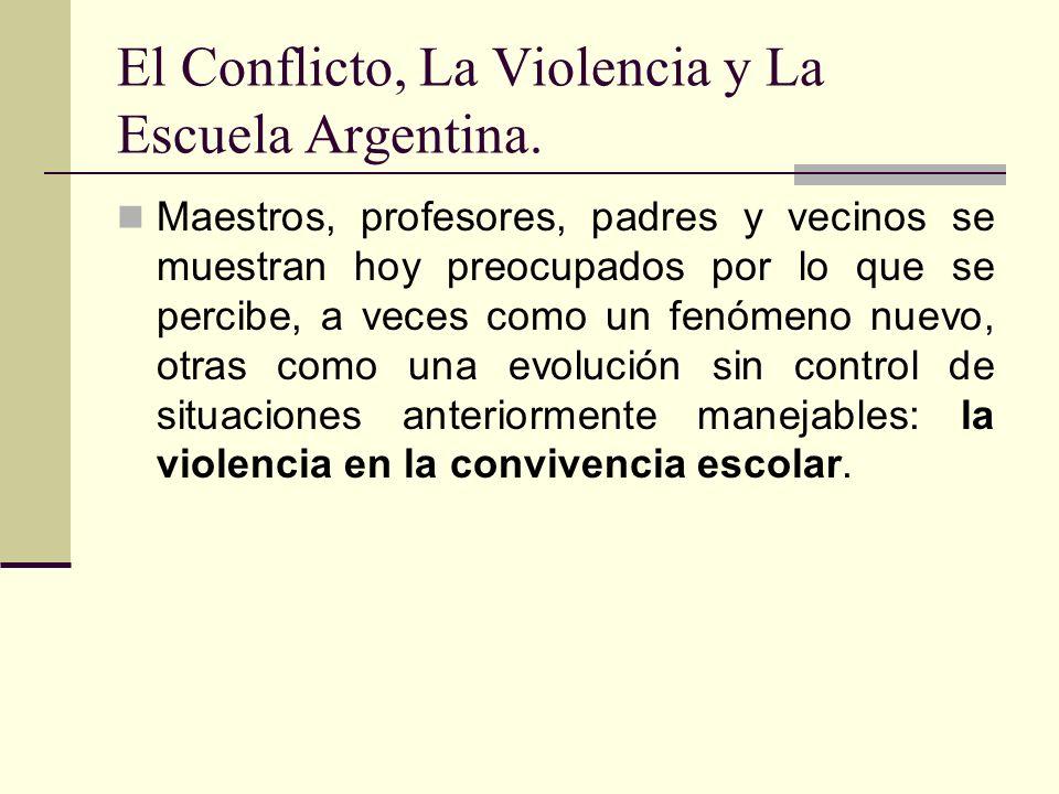 El Conflicto, La Violencia y La Escuela Argentina. Maestros, profesores, padres y vecinos se muestran hoy preocupados por lo que se percibe, a veces c