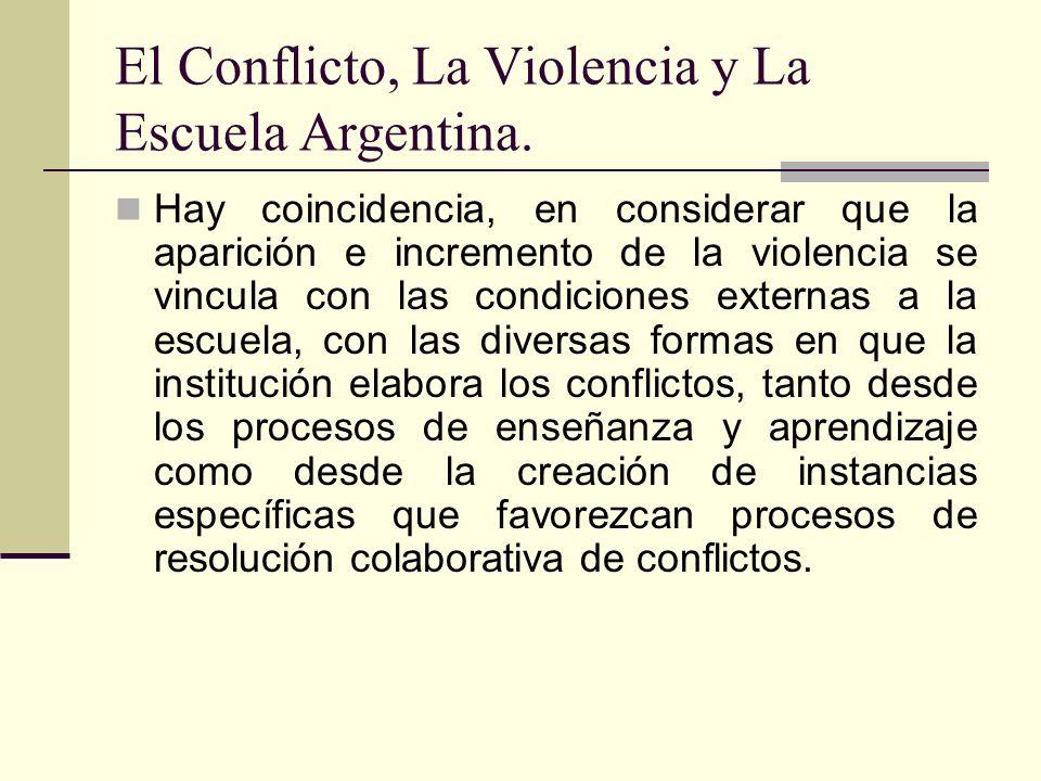 El Conflicto, La Violencia y La Escuela Argentina. Hay coincidencia, en considerar que la aparición e incremento de la violencia se vincula con las co
