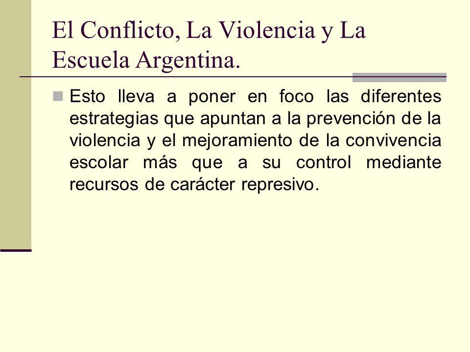 El Conflicto, La Violencia y La Escuela Argentina. Esto lleva a poner en foco las diferentes estrategias que apuntan a la prevención de la violencia y