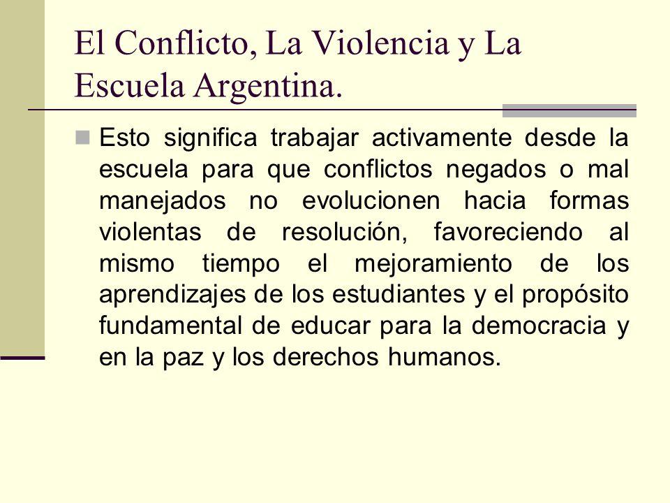 El Conflicto, La Violencia y La Escuela Argentina. Esto significa trabajar activamente desde la escuela para que conflictos negados o mal manejados no