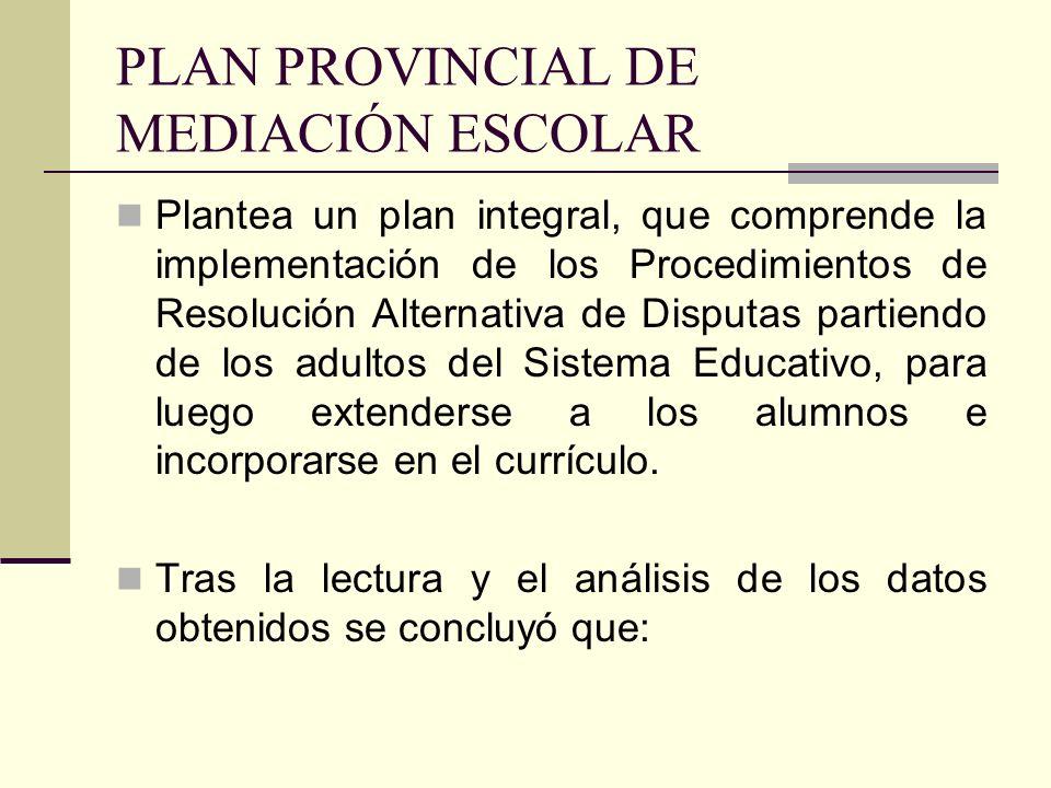 PLAN PROVINCIAL DE MEDIACIÓN ESCOLAR Plantea un plan integral, que comprende la implementación de los Procedimientos de Resolución Alternativa de Disp