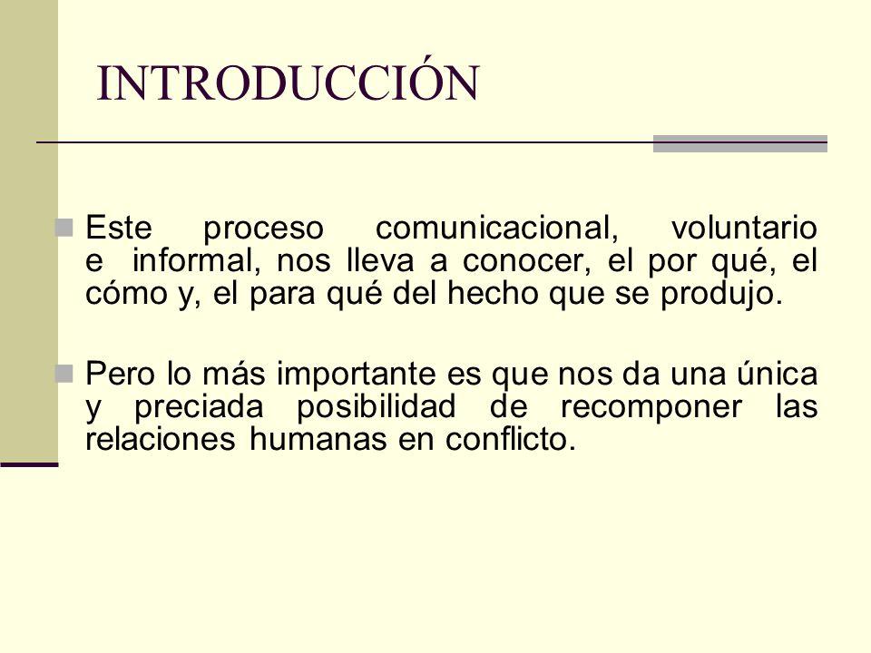 INTRODUCCIÓN Este proceso comunicacional, voluntario e informal, nos lleva a conocer, el por qué, el cómo y, el para qué del hecho que se produjo. Per