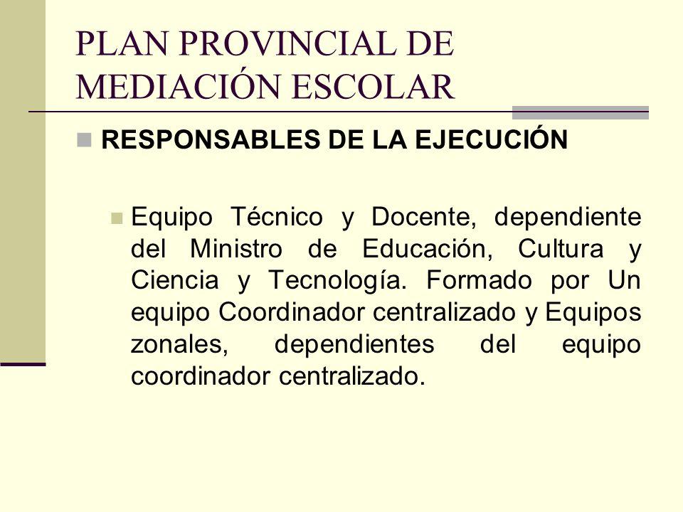 PLAN PROVINCIAL DE MEDIACIÓN ESCOLAR RESPONSABLES DE LA EJECUCIÓN Equipo Técnico y Docente, dependiente del Ministro de Educación, Cultura y Ciencia y