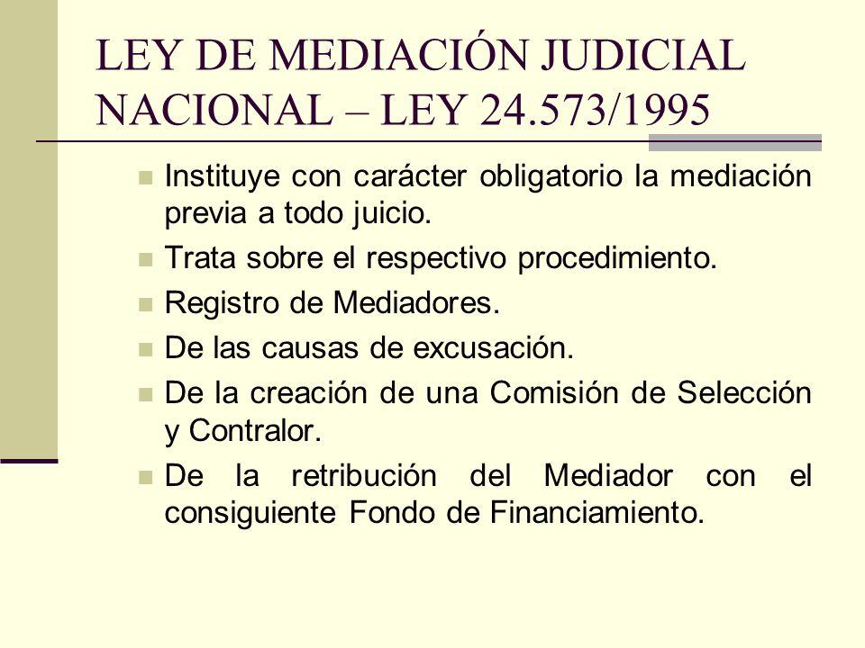LEY DE MEDIACIÓN JUDICIAL NACIONAL – LEY 24.573/1995 Instituye con carácter obligatorio la mediación previa a todo juicio. Trata sobre el respectivo p