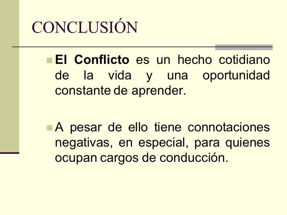 El Conflicto es un hecho cotidiano de la vida y una oportunidad constante de aprender. A pesar de ello tiene connotaciones negativas, en especial, par