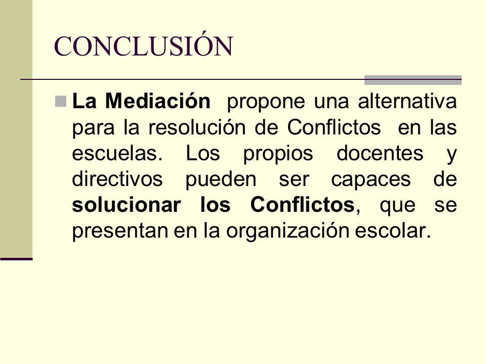 CONCLUSIÓN La Mediación propone una alternativa para la resolución de Conflictos en las escuelas. Los propios docentes y directivos pueden ser capaces