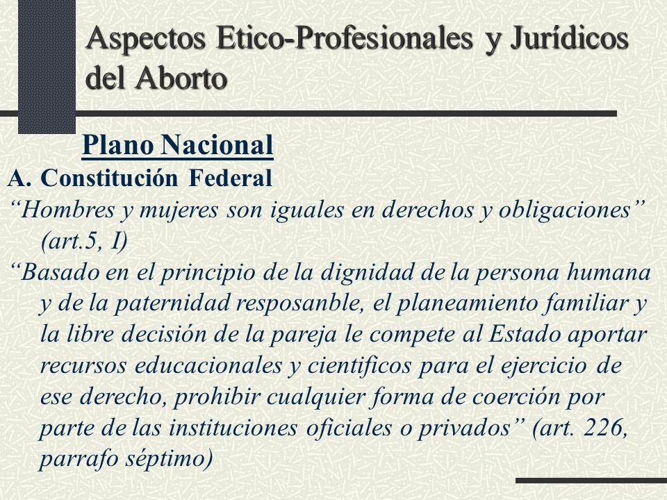 Aspectos Etico-Profesionales y Jurídicos del Aborto Plano Nacional A.Constitución Federal Hombres y mujeres son iguales en derechos y obligaciones (ar