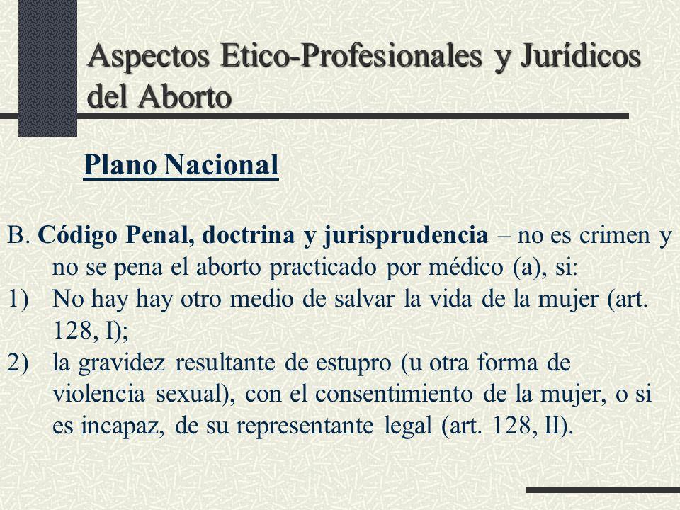 Aspectos Etico-Profesionales y Jurídicos del Aborto Plano Nacional B. Código Penal, doctrina y jurisprudencia – no es crimen y no se pena el aborto pr