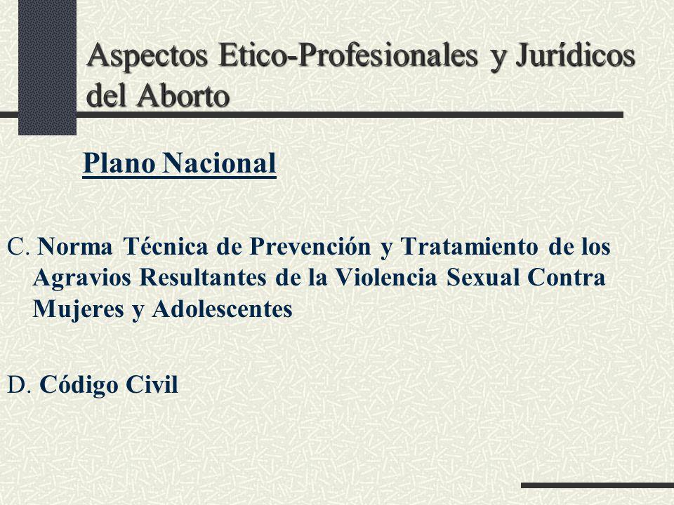Aspectos Etico-Profesionales y Jurídicos del Aborto Plano Nacional C. Norma Técnica de Prevención y Tratamiento de los Agravios Resultantes de la Viol