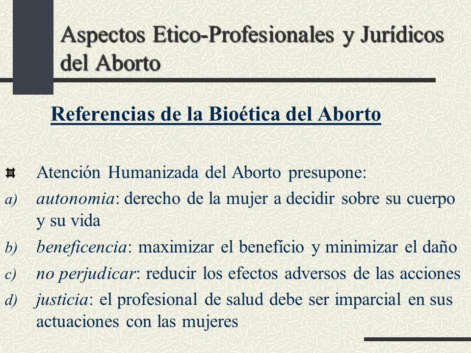 Aspectos Etico-Profesionales y Jurídicos del Aborto Referencias de la Bioética del Aborto Atención Humanizada del Aborto presupone: a) autonomia: dere