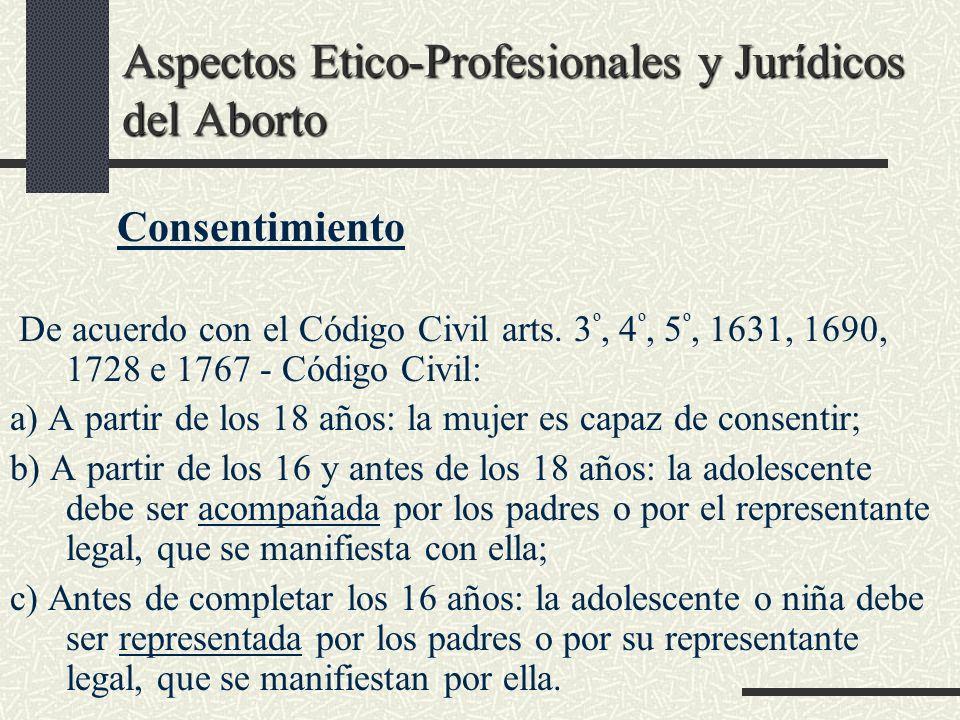 Aspectos Etico-Profesionales y Jurídicos del Aborto Consentimiento De acuerdo con el Código Civil arts. 3 º, 4 º, 5 º, 1631, 1690, 1728 e 1767 - Códig