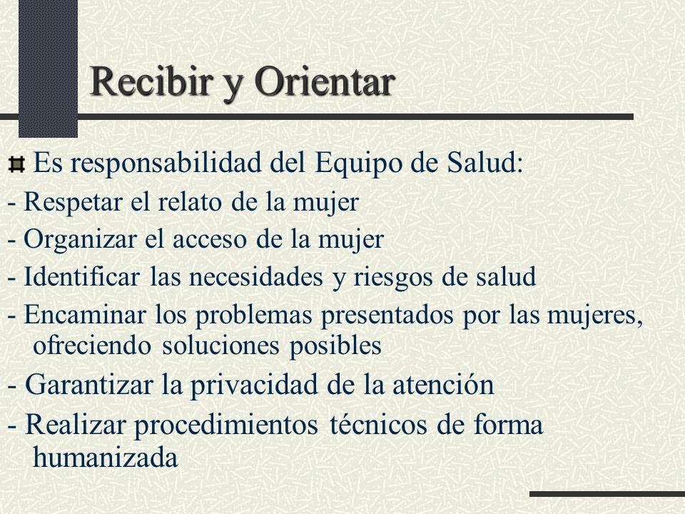 Recibir y Orientar Es responsabilidad del Equipo de Salud: - Respetar el relato de la mujer - Organizar el acceso de la mujer - Identificar las necesi