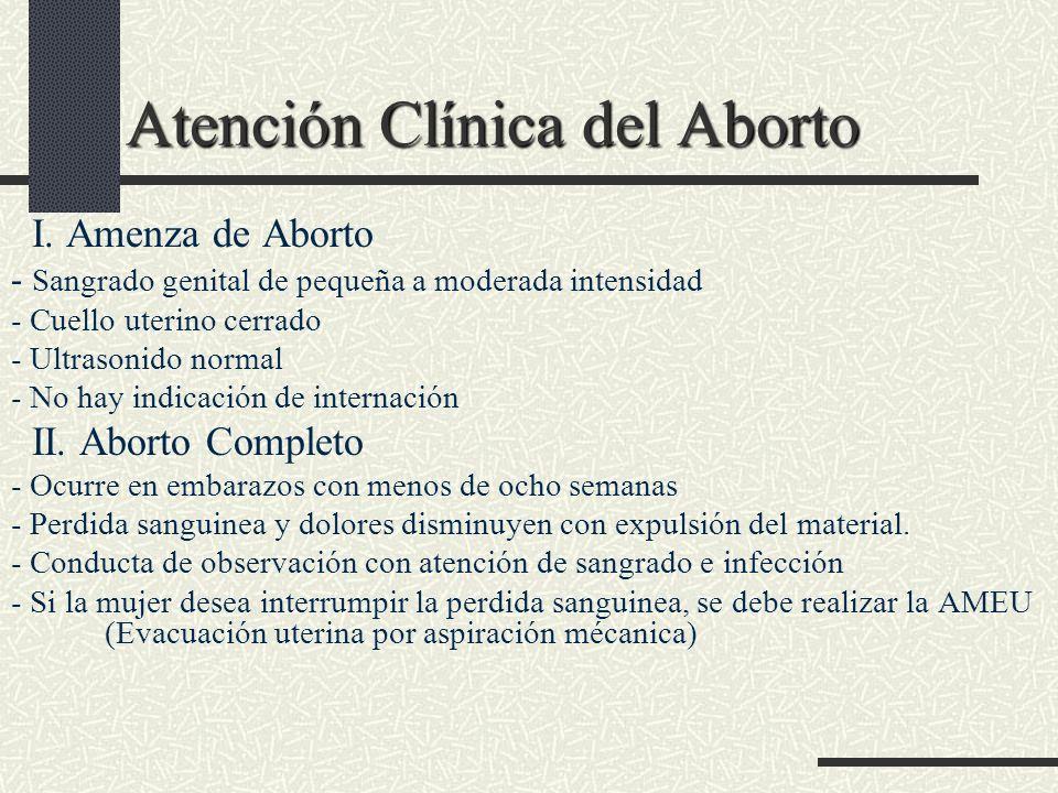 Atención Clínica del Aborto I. Amenza de Aborto - Sangrado genital de pequeña a moderada intensidad - Cuello uterino cerrado - Ultrasonido normal - No