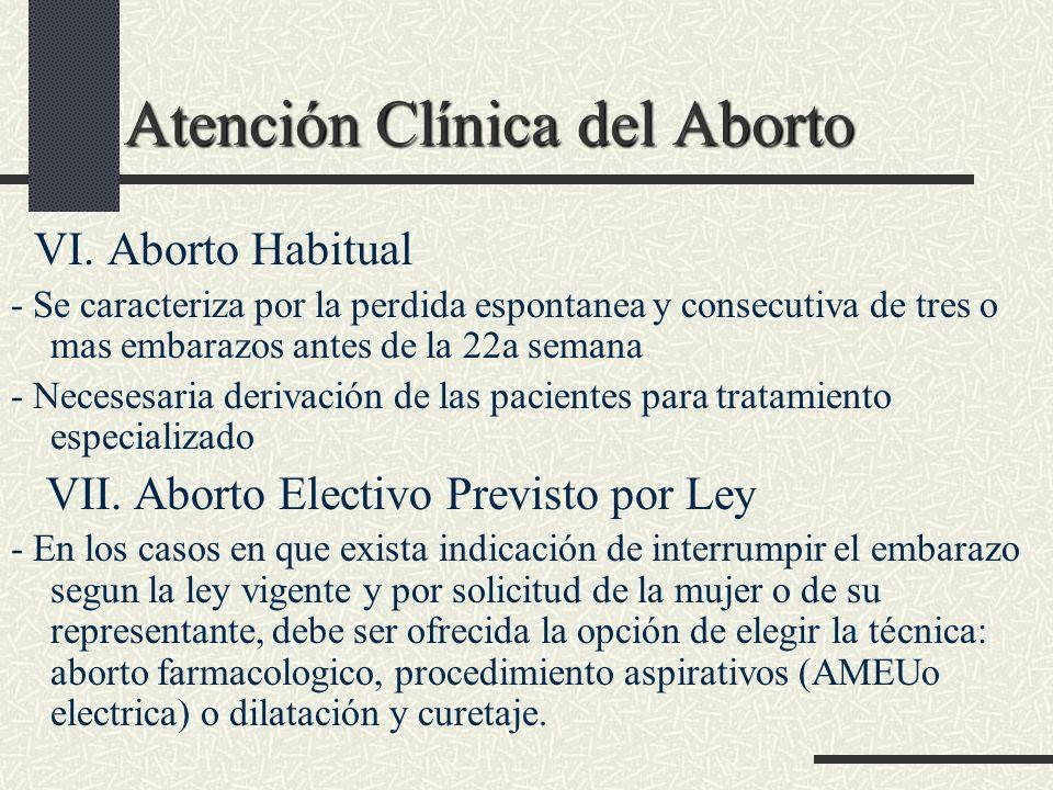 Atención Clínica del Aborto Atención Clínica del Aborto VI. Aborto Habitual - Se caracteriza por la perdida espontanea y consecutiva de tres o mas emb