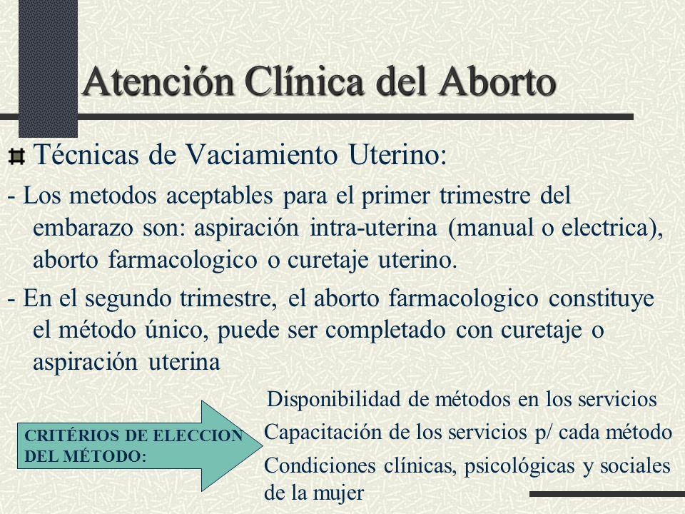 Atención Clínica del Aborto Atención Clínica del Aborto Técnicas de Vaciamiento Uterino: - Los metodos aceptables para el primer trimestre del embaraz