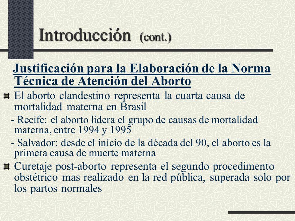 Introducción (cont.) Magnitud del Aborto Aspectos culturales, religiosos y legales impiden a las mujeres declarar sus abortos Aborto espontaneo 10% de las gestaciones En el Mundo (se estima): 182 millones de gestaciones anuales 36% no son planeadas con 20% terminan en aborto (OMS) En Brasil (se estima): considerando los datos de SUS (Sistema Unico de Salud), el número de abortos clandestinos varia de 750 a 1 millón y 400 mil (IPAS Brasil, 2002)