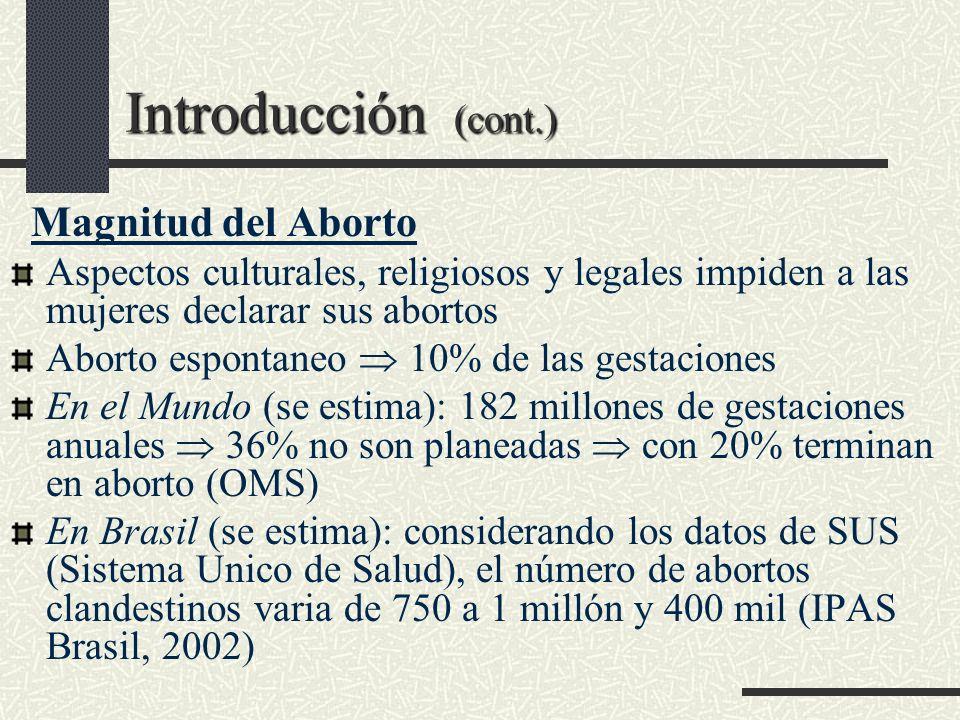 Introducción (cont.) Magnitud del Aborto Aspectos culturales, religiosos y legales impiden a las mujeres declarar sus abortos Aborto espontaneo 10% de
