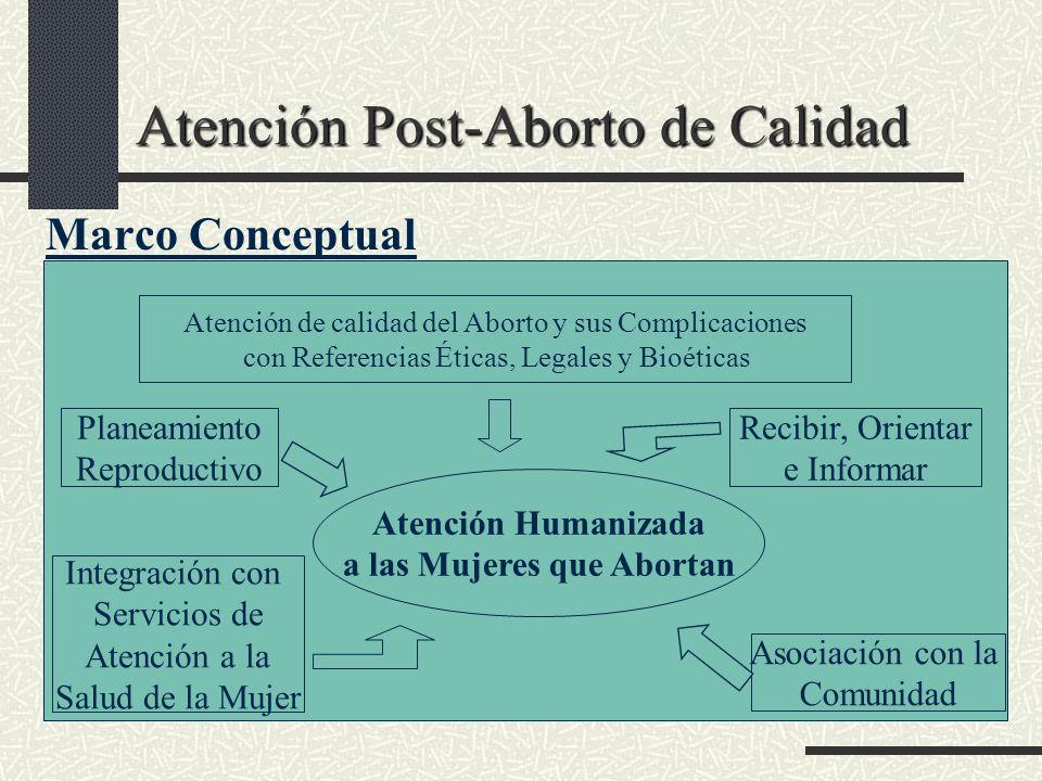 Atención Post-Aborto de Calidad Marco Conceptual Atención de calidad del Aborto y sus Complicaciones con Referencias Éticas, Legales y Bioéticas Plane