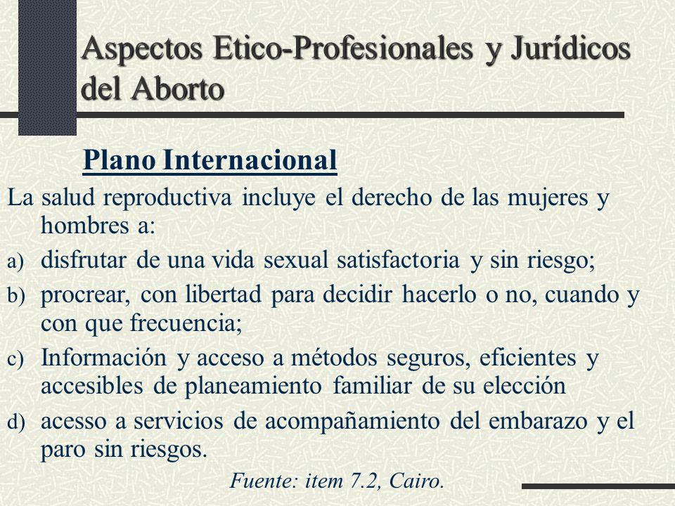 Aspectos Etico-Profesionales y Jurídicos del Aborto Plano Internacional La salud reproductiva incluye el derecho de las mujeres y hombres a: a) disfru