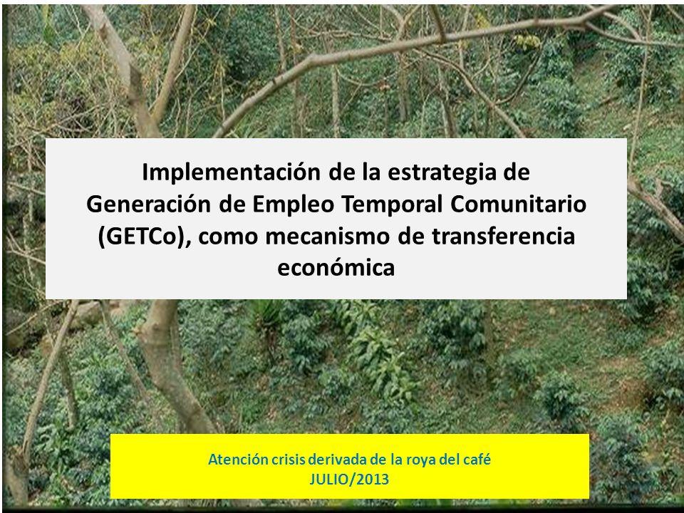 Implementación de la estrategia de Generación de Empleo Temporal Comunitario (GETCo), como mecanismo de transferencia económica Atención crisis deriva