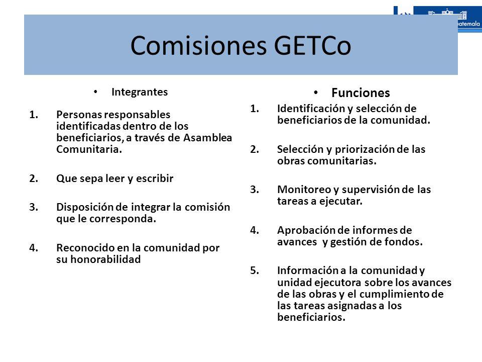 Comisiones GETCo Integrantes 1.Personas responsables identificadas dentro de los beneficiarios, a través de Asamblea Comunitaria. 2.Que sepa leer y es