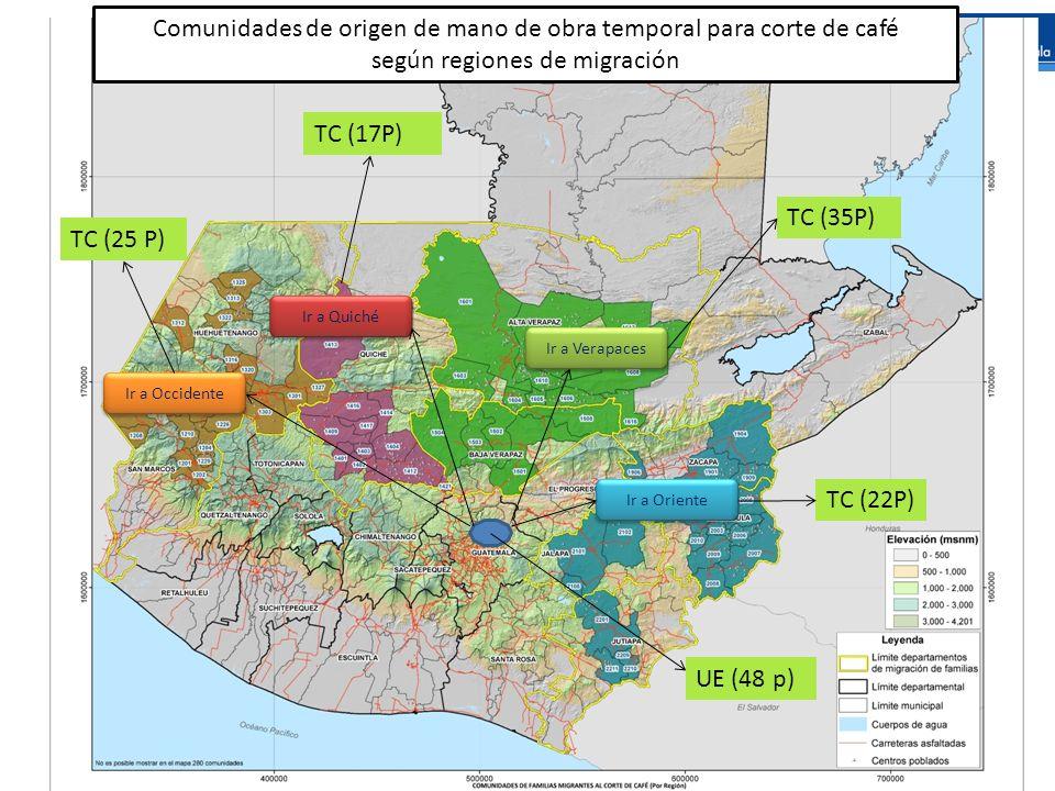 Ir a Verapaces Ir a Oriente Ir a Quiché Ir a Occidente Comunidades de origen de mano de obra temporal para corte de café según regiones de migración U