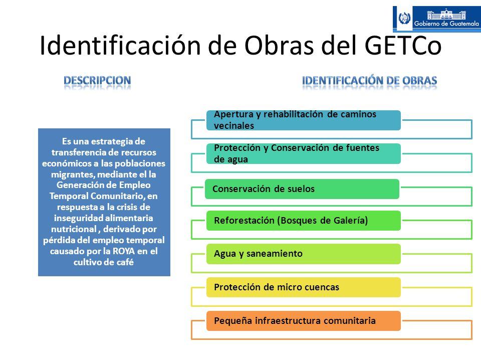 Identificación de Obras del GETCo Apertura y rehabilitación de caminos vecinales Protección y Conservación de fuentes de agua Conservación de suelosRe