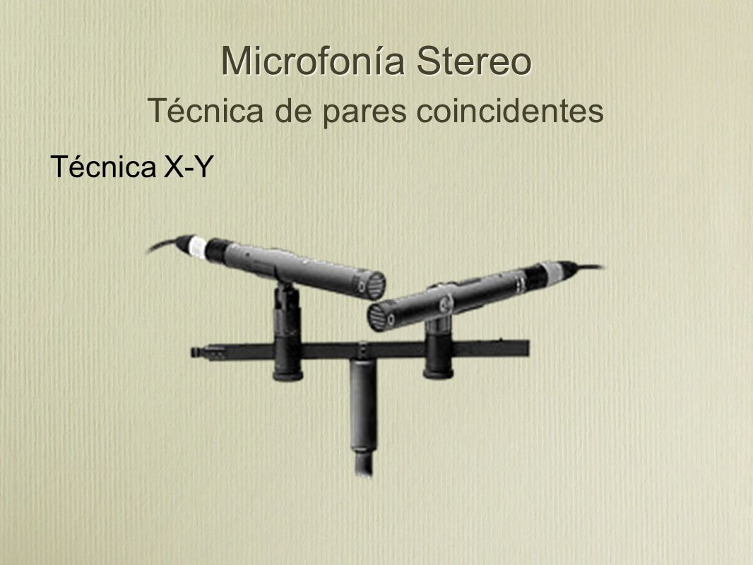 Microfonía Stereo Técnica de pares coincidentes Técnica X-Y