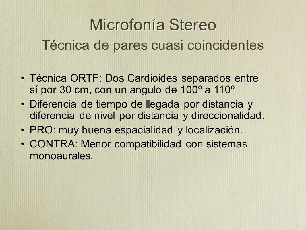Microfonía Stereo Técnica de pares cuasi coincidentes Técnica ORTF: Dos Cardioides separados entre sí por 30 cm, con un angulo de 100º a 110º Diferenc