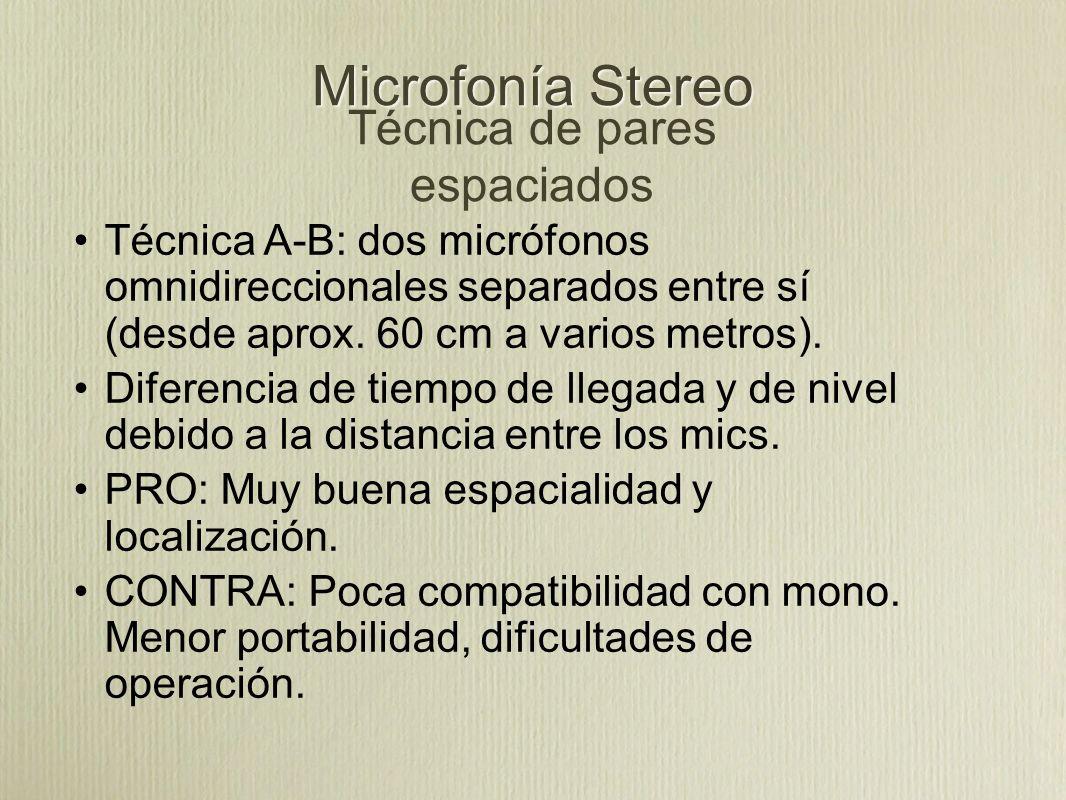 Microfonía Stereo Técnica de pares espaciados Técnica A-B: dos micrófonos omnidireccionales separados entre sí (desde aprox. 60 cm a varios metros). D