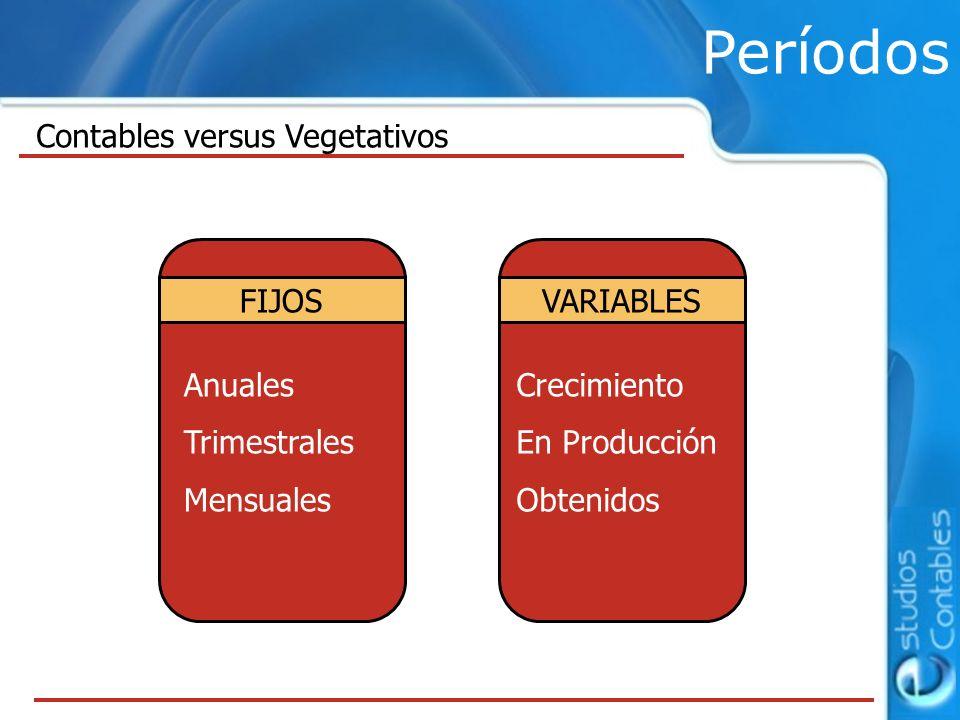 Períodos Contables versus Vegetativos FIJOS Anuales Trimestrales Mensuales VARIABLES Crecimiento En Producción Obtenidos