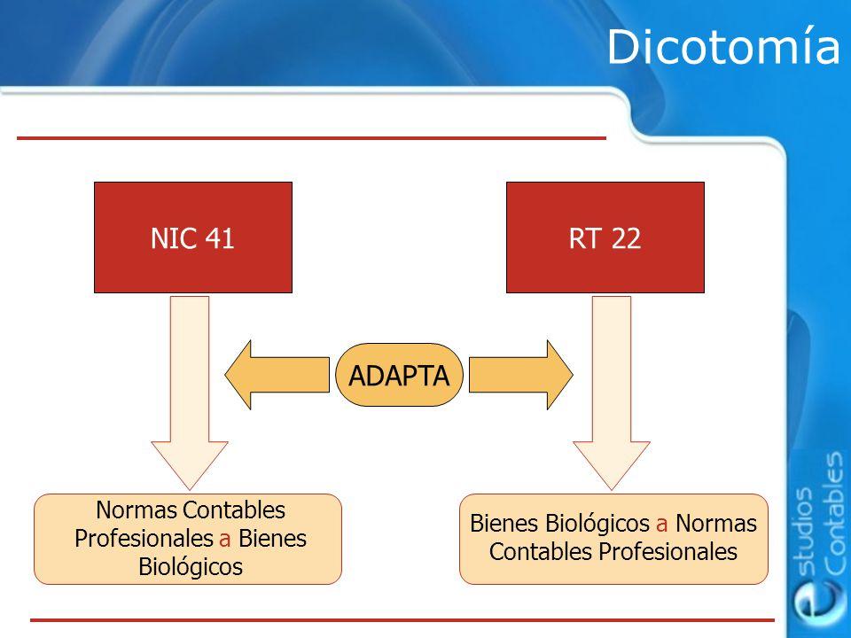 Dicotomía NIC 41RT 22 Normas Contables Profesionales a Bienes Biológicos Bienes Biológicos a Normas Contables Profesionales ADAPTA