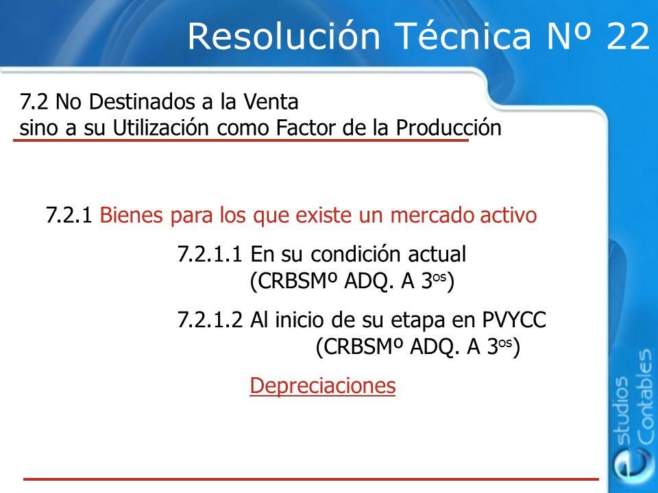 Resolución Técnica Nº 22 7.2 No Destinados a la Venta sino a su Utilización como Factor de la Producción 7.2.1 Bienes para los que existe un mercado activo 7.2.1.1 En su condición actual (CRBSMº ADQ.