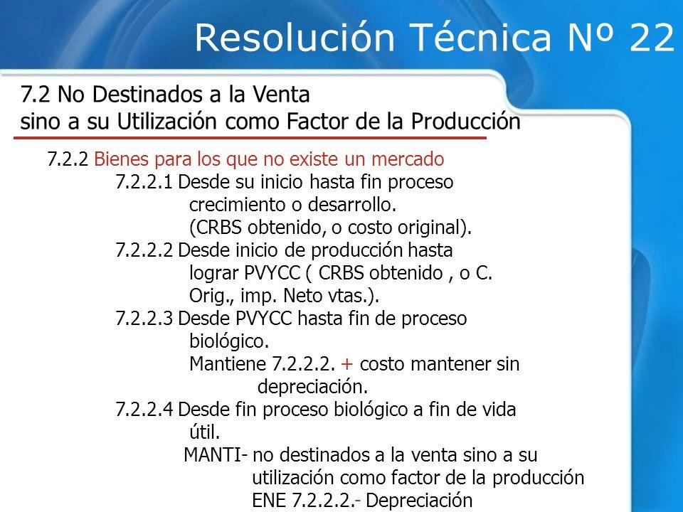 Resolución Técnica Nº 22 7.2 No Destinados a la Venta sino a su Utilización como Factor de la Producción 7.2.2 Bienes para los que no existe un mercado 7.2.2.1 Desde su inicio hasta fin proceso crecimiento o desarrollo.