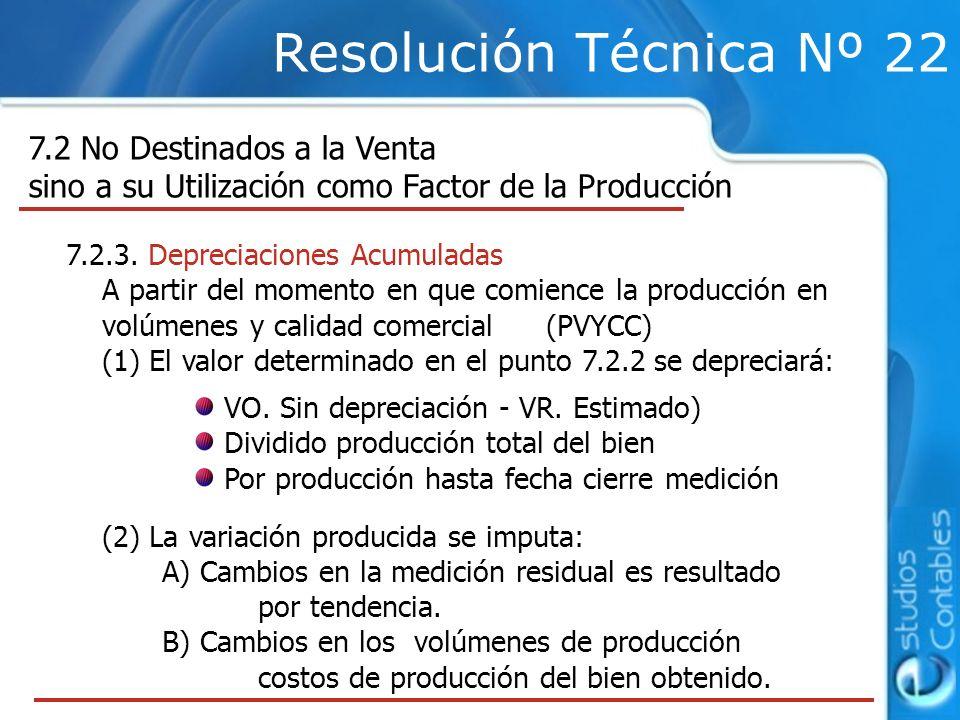 Resolución Técnica Nº 22 7.2 No Destinados a la Venta sino a su Utilización como Factor de la Producción 7.2.3.