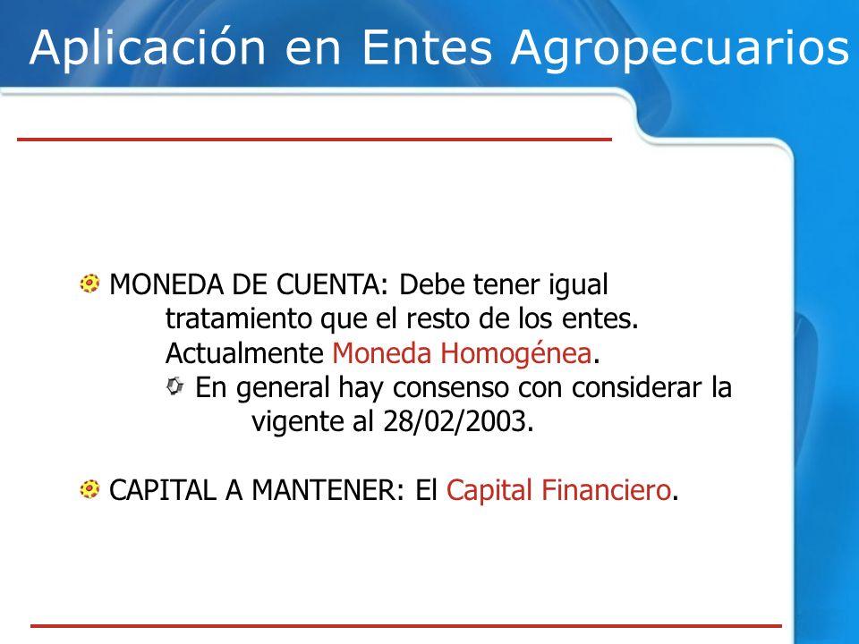 Aplicación en Entes Agropecuarios MONEDA DE CUENTA: Debe tener igual tratamiento que el resto de los entes.