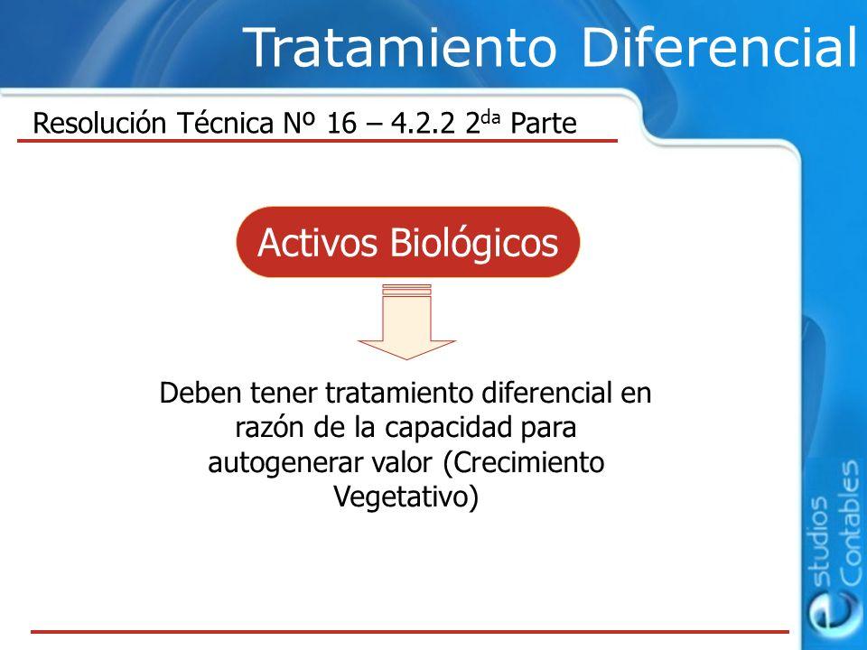 Tratamiento Diferencial Deben tener tratamiento diferencial en razón de la capacidad para autogenerar valor (Crecimiento Vegetativo) Resolución Técnica Nº 16 – 4.2.2 2 da Parte Activos Biológicos