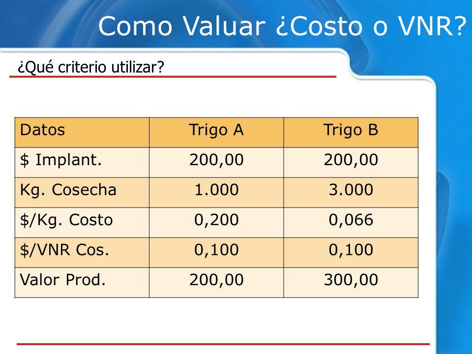 Como Valuar ¿Costo o VNR.¿Qué criterio utilizar. DatosTrigo ATrigo B $ Implant.200,00 Kg.
