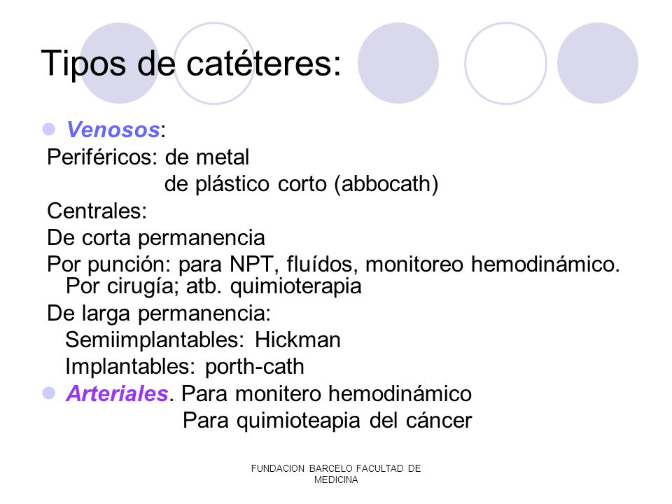 FUNDACION BARCELO FACULTAD DE MEDICINA Tipos de catéteres: Venosos: Periféricos: de metal de plástico corto (abbocath) Centrales: De corta permanencia