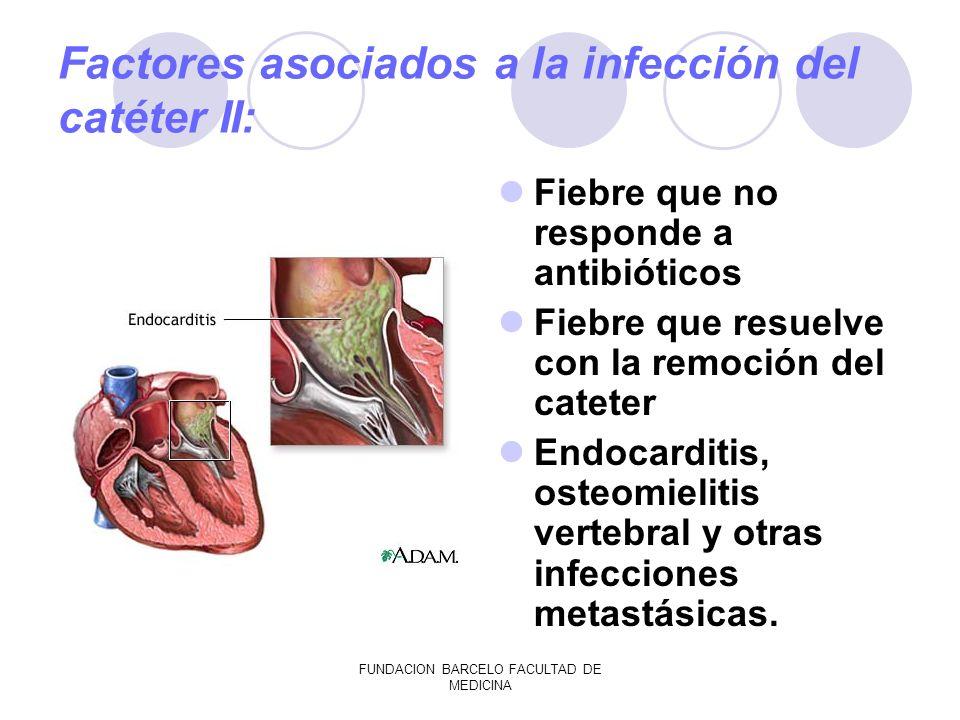 FUNDACION BARCELO FACULTAD DE MEDICINA Factores asociados a la infección del catéter II: Fiebre que no responde a antibióticos Fiebre que resuelve con