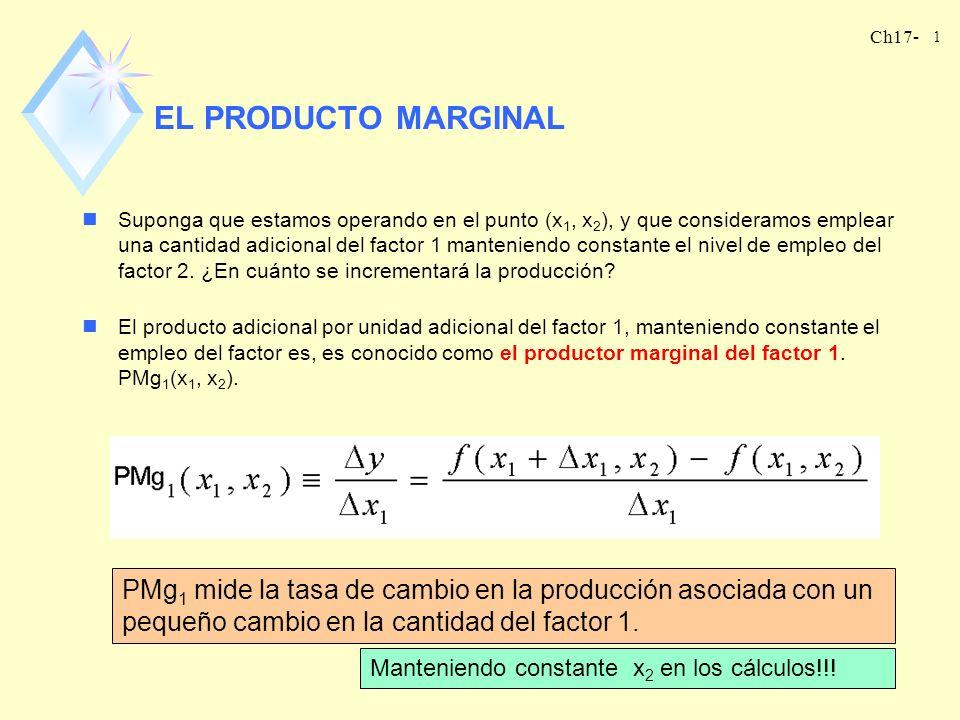 Ch17- 1 EL PRODUCTO MARGINAL nSuponga que estamos operando en el punto (x 1, x 2 ), y que consideramos emplear una cantidad adicional del factor 1 man