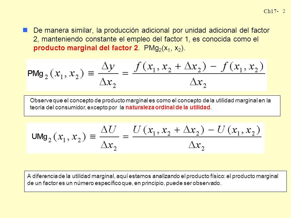 Ch17- 3 LA TASA TÉCNICA DE SUSTITUCIÓN nEsta cantidad es la pendiente de la isocuanta, conocida como la tasa técnica de sustitución TTS(x 1, x 2 ).